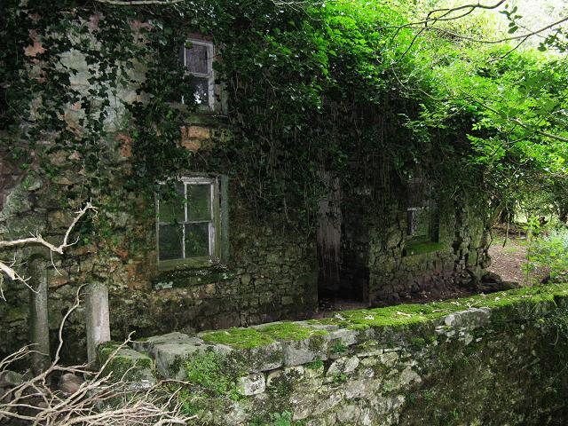 Ruined farmhouse at Pwll-y-fuwch