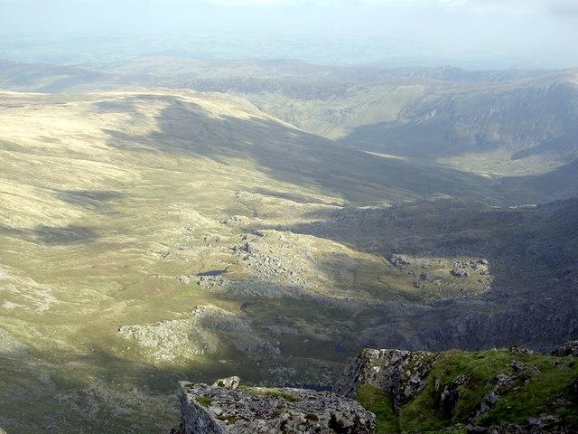 Gledrffordd, Cefn Tal-y-llyn and Cwm Eigiau from the summit of Carnedd Llywelyn