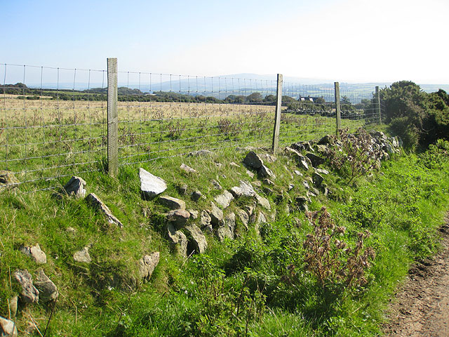 Fenced grazing land near the Strumble VOR