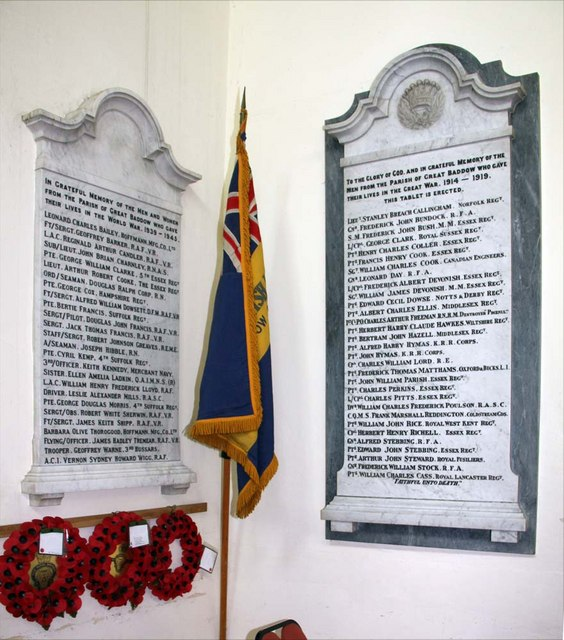 St Mary the Virgin, Great Baddow, Essex - Memorial WWI & WWII