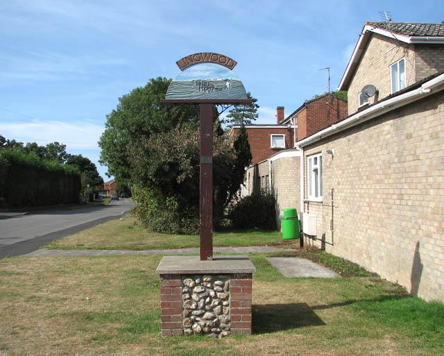 Lingwood village sign in Post Office Road