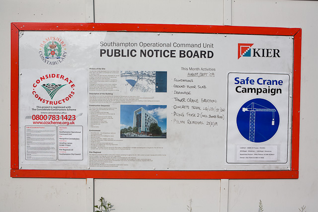 Informative notice on construction site