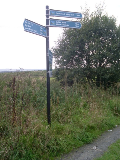 Directional signpost in Cathkin Braes Country Park