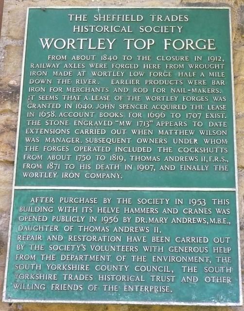 Information plaque, Wortley Top Forge, Stocksbridge