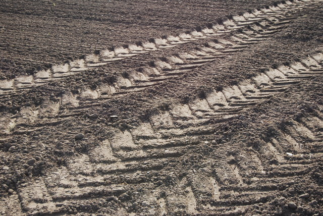 Tractor tyre tracks, newly ploughed field