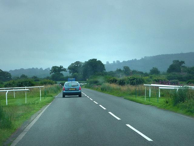 B4365 crossing Ludlow racecourse