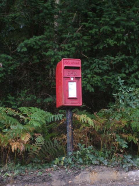 Pillar box at the edge of Bagley Wood