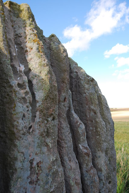 Duddo Standing stone, close up of weathering
