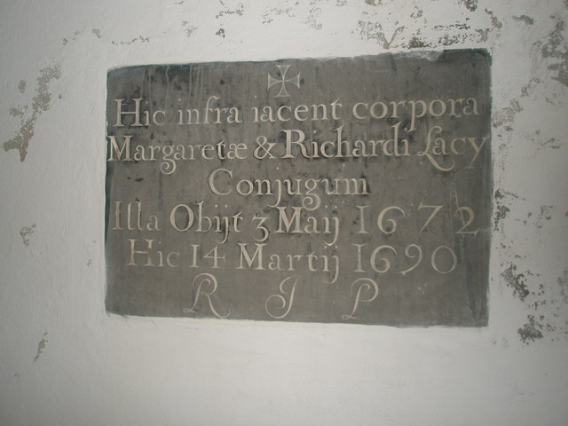 Ancient memorial in the porch at St Mary Magdalene, West Tisted