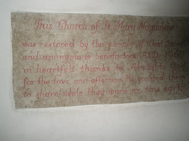 Commemorative plaque within St Mary Magdalene, West Tisted