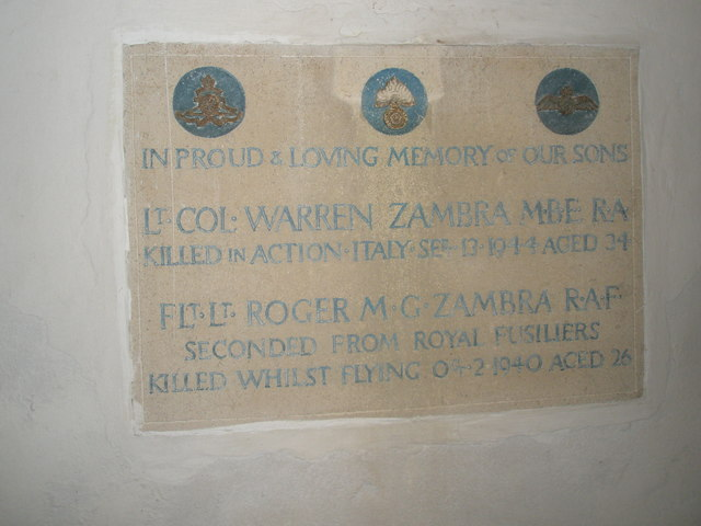 Memorial plaque to Lt. Col. Warren Zambra and Flt. Lt. Roger M. G. Zambra