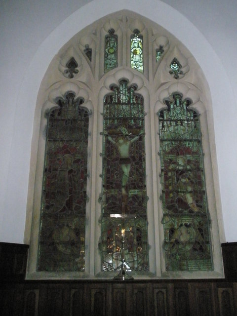 Stained glass window above the altar at St Mary Magdalene, West Tisted