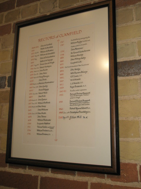 Familiar names on the incumbency board at St James, Clanfield