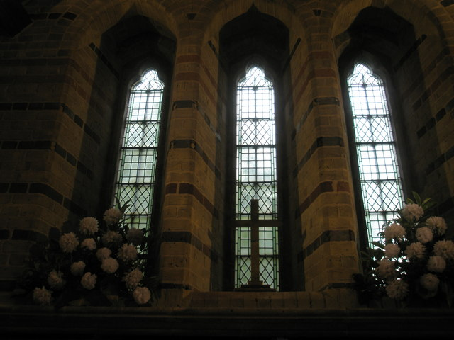 Windows above the altar at St James, Clanfield