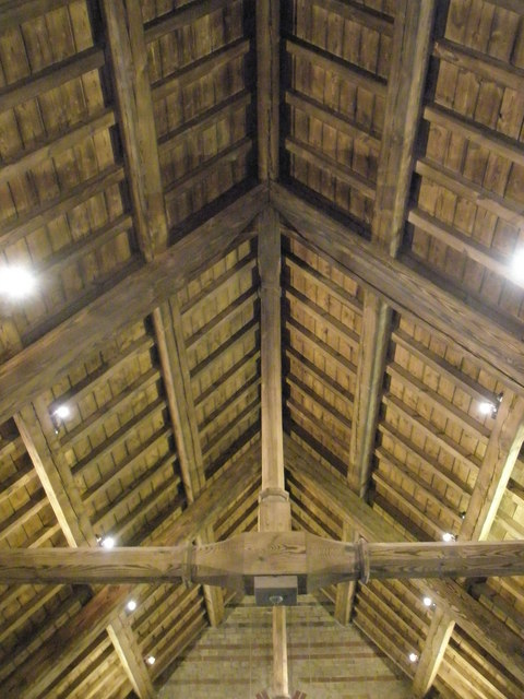 The newly refurbished roof timbers at St James, Clanfield