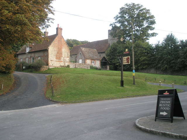 View from the pub to the church at Chalton