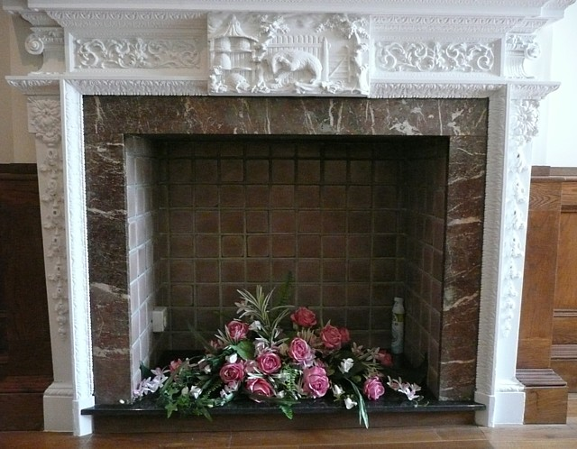 Fireplace in the entrance hall, Somerset House, Rawson Street, Halifax
