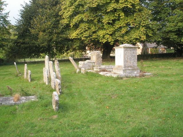 A range of memorials in Chalton Churchyard