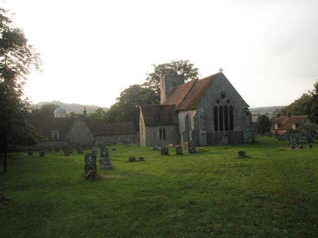 St Michael, Chalton in the autumn twilight