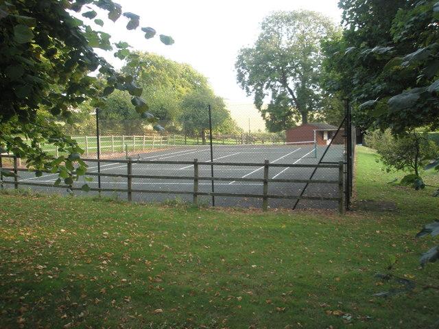 Tennis court as seen from Chalton Churchyard