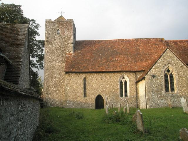 Rear view of St Michael, Chalton