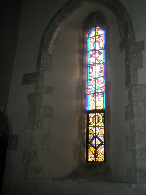Stained glass window on the south wall at St Michael, Chalton (1)