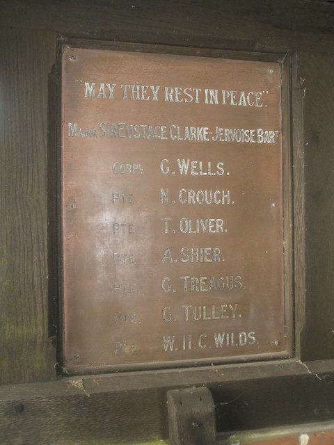 War memorial in the lych gate at St Michael, Chalton