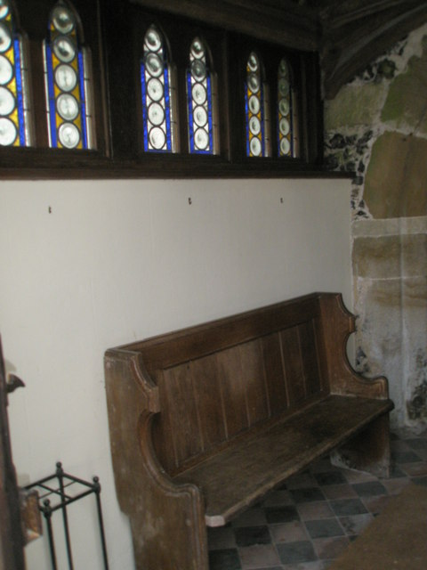 Seat in the porch at St Michael, Chalton