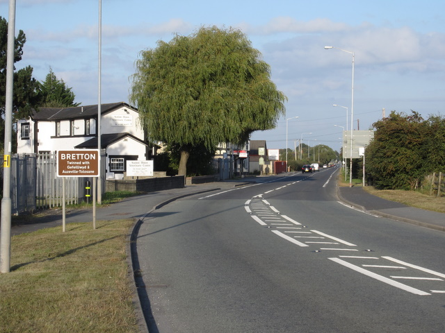 Former Broughton and Bretton level crossing on the A5104