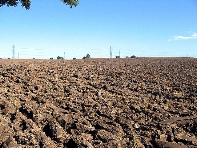 Ploughed field at Leechmire farm