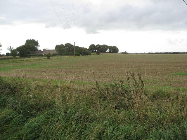 View across farmland towards Hannah