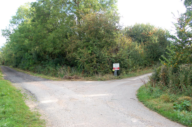 Entrance to Potash Farm (right) from unclassified road (left)