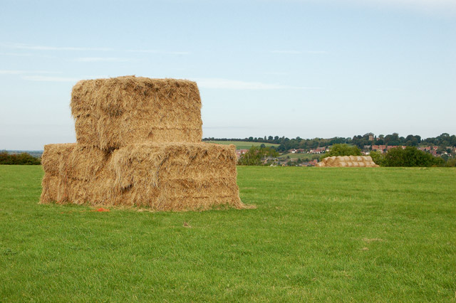 Stack of bales with Napton in the distance