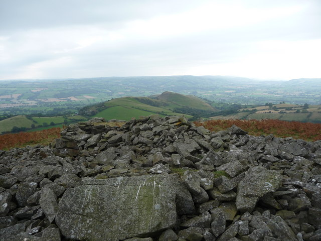 View south west from Corndon Hill south cairn