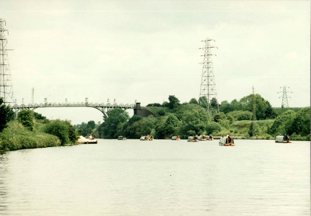 On the Manchester Ship Canal, approaching Warburton Bridge from Warrington