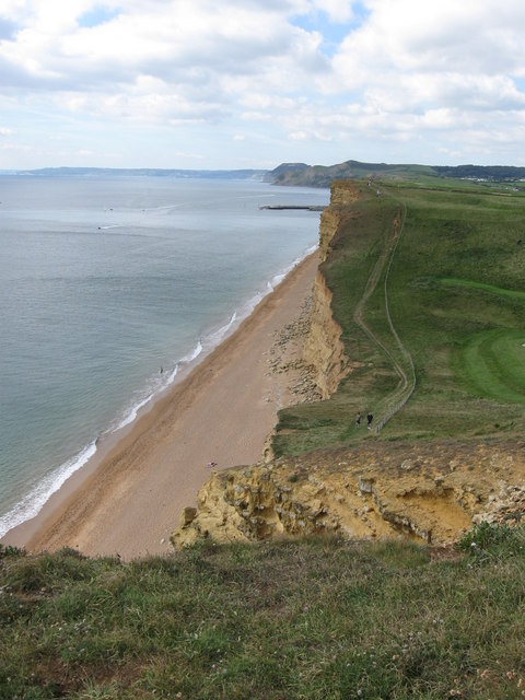 View across the dip in the East Cliff at West Bay, Dorset.