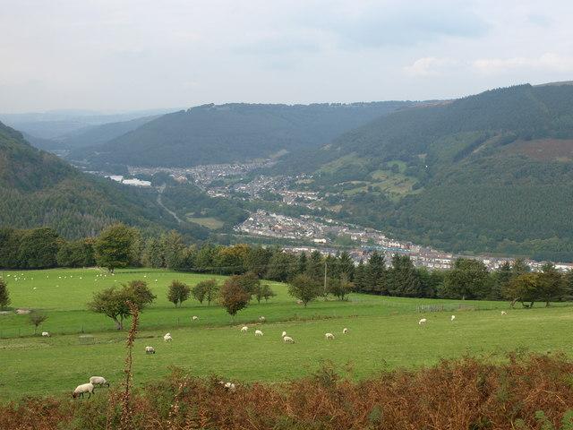 Crosskeys/Cwmcarn viewed from Mynydd Machen