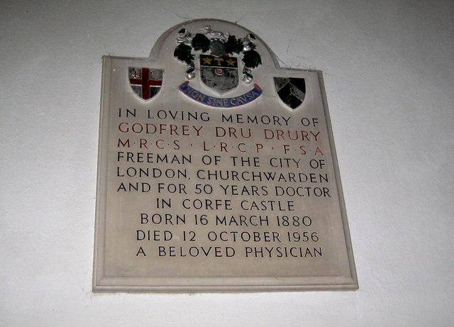 Dru Drury Memorial - Corfe Castle Church