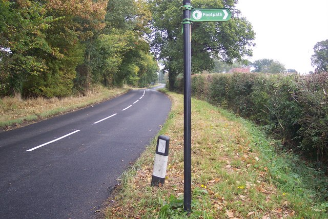 The High Weald Landscape Trail leaves Golford Road