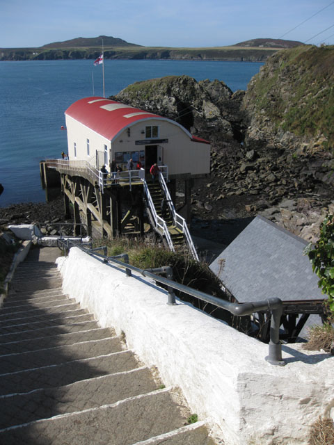 Steps down to the lifeboat station, St Justinian