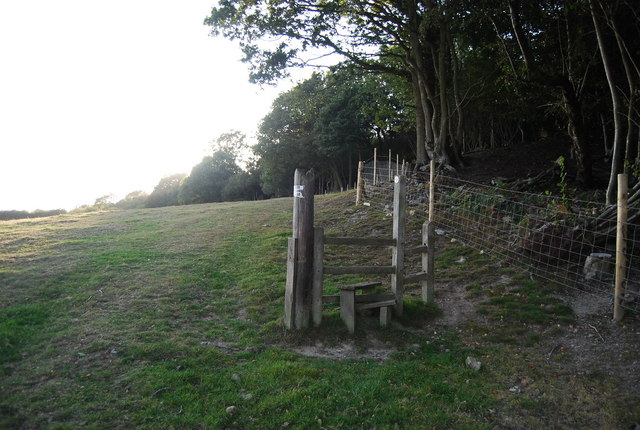 Stile on the edge of Scords Wood
