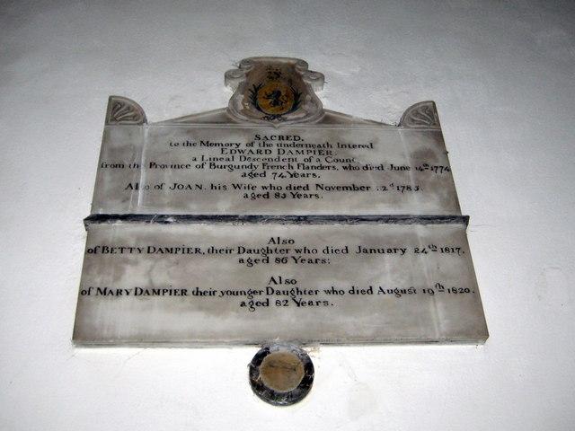 Dampier memorial - Corfe Castle Church