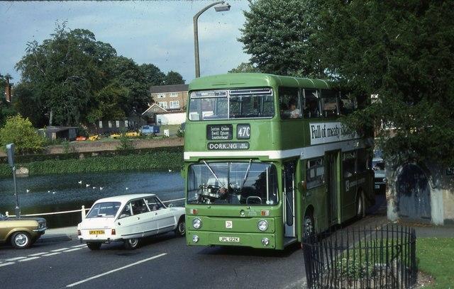 London Country route 470 bus passes Carshalton Ponds