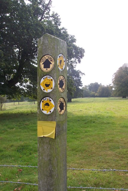 Close-up of footpath markers near a kissing gate