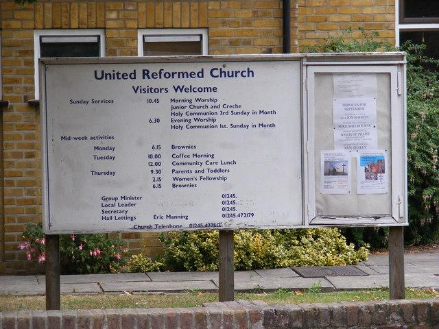 Great Baddow United Reformed Church Notice Board