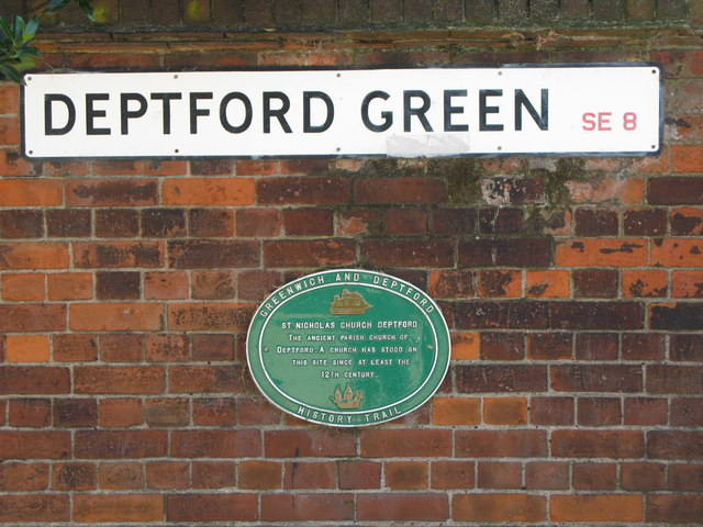 Plaque re St. Nicholas' Church, Deptford Green, SE8
