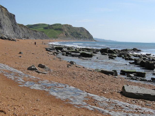 "Flat Limestone ""pavement"" at beach West of Seatown,  Dorset"