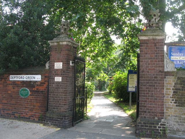 "The ""skull & crossbones"" entrance to St. Nicholas' Church, Deptford Green, SE8"