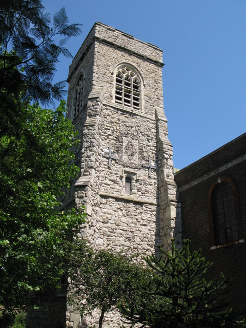 The tower of St. Nicholas' Church, Deptford Green, SE8