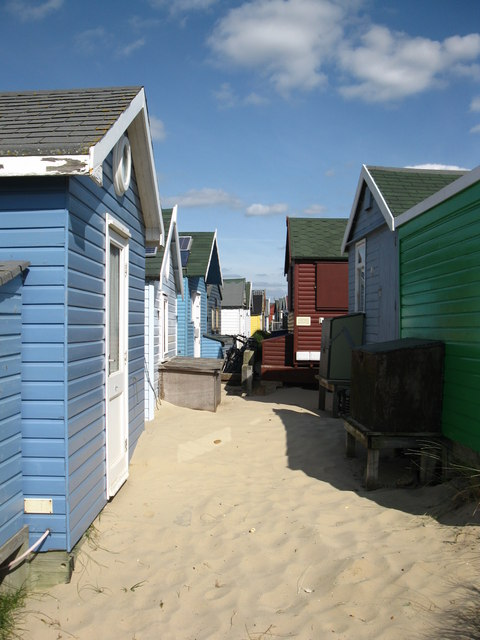Between beach huts on Mudeford Spit